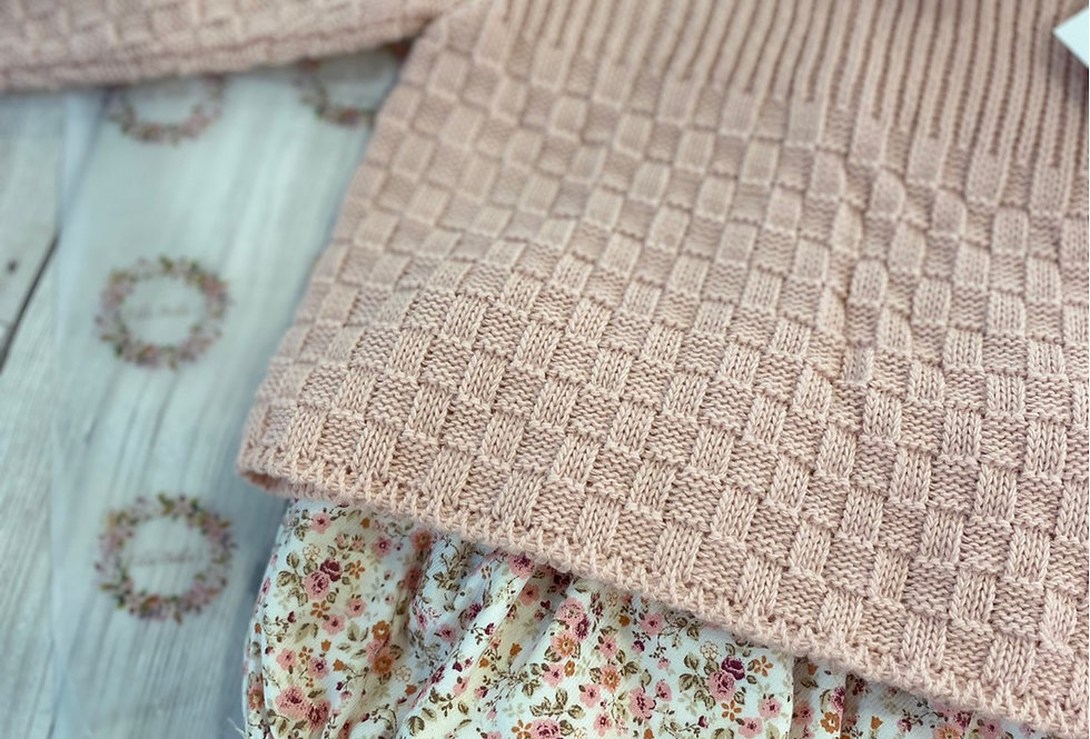 Raised Stitch Floral Pant Set