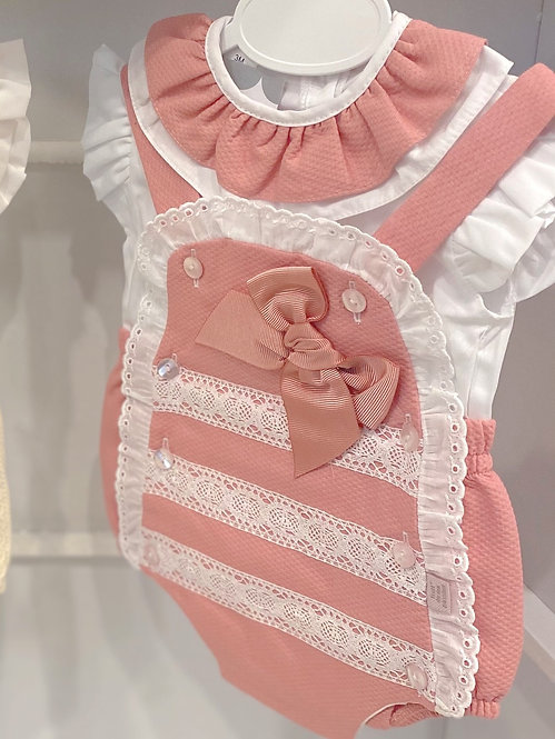 Dusty Pink Lace Detailed Romper