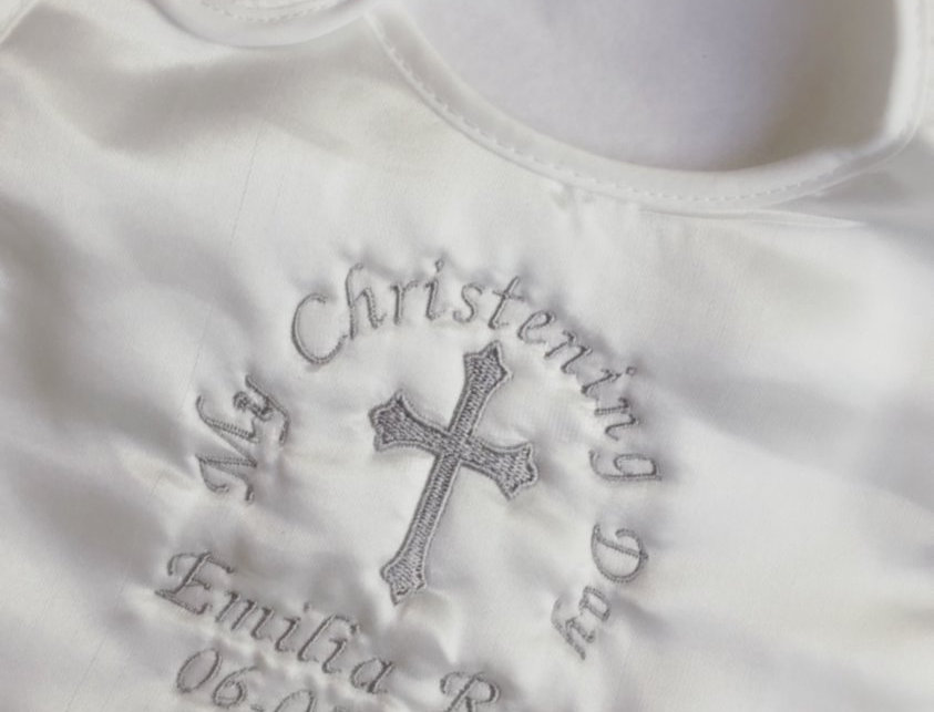 Satin Christening Bib