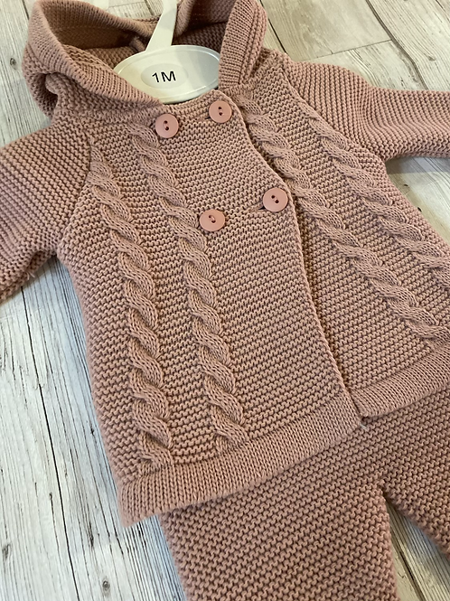 Dusty Pink Cable Cardigan Set