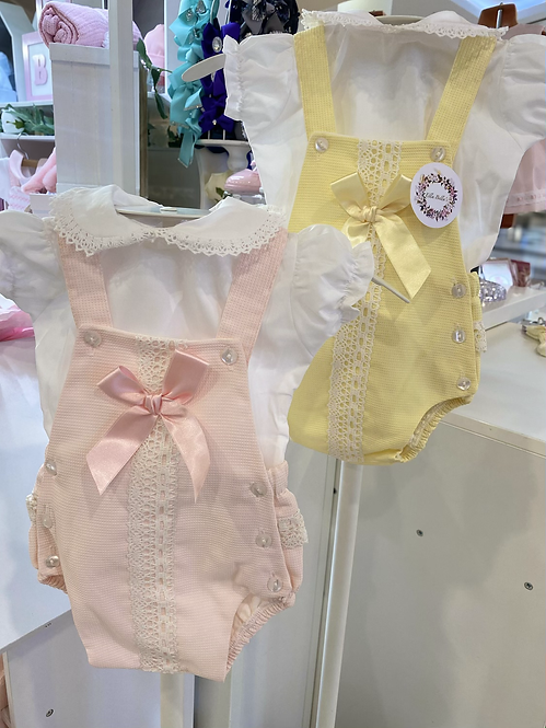 Woven Romper With Large Satin Bow