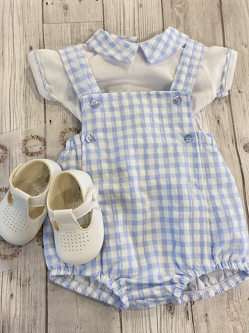 Gingham Romper With Cotton Shirt