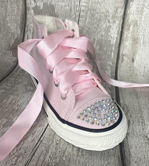 Pink Canvas Diamanté Trainer