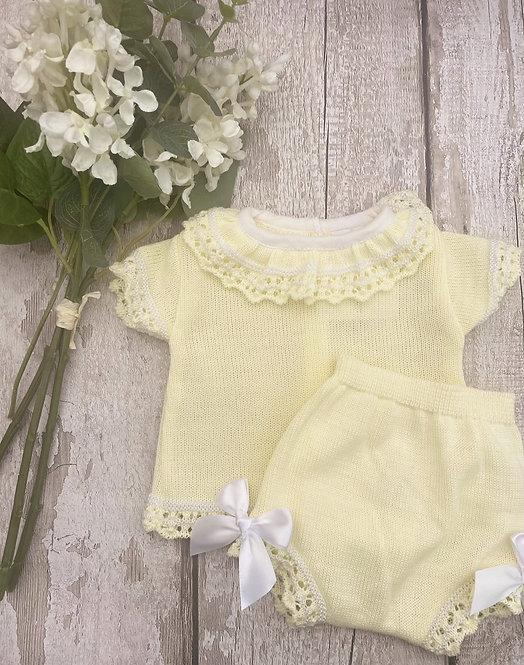 Lemon Crochet Hem Top and Pants