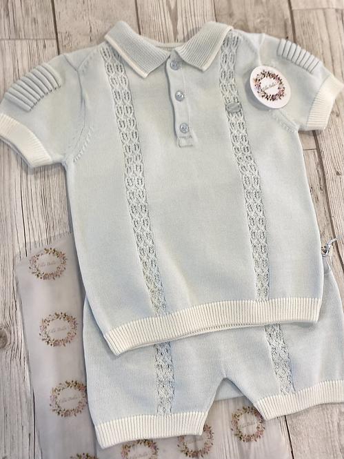 Blue Cotton Short Set