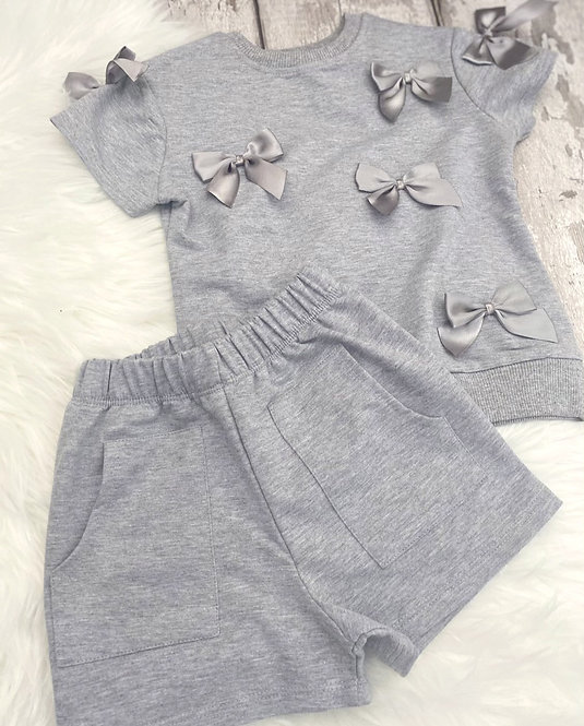 Grey Bow Short Set