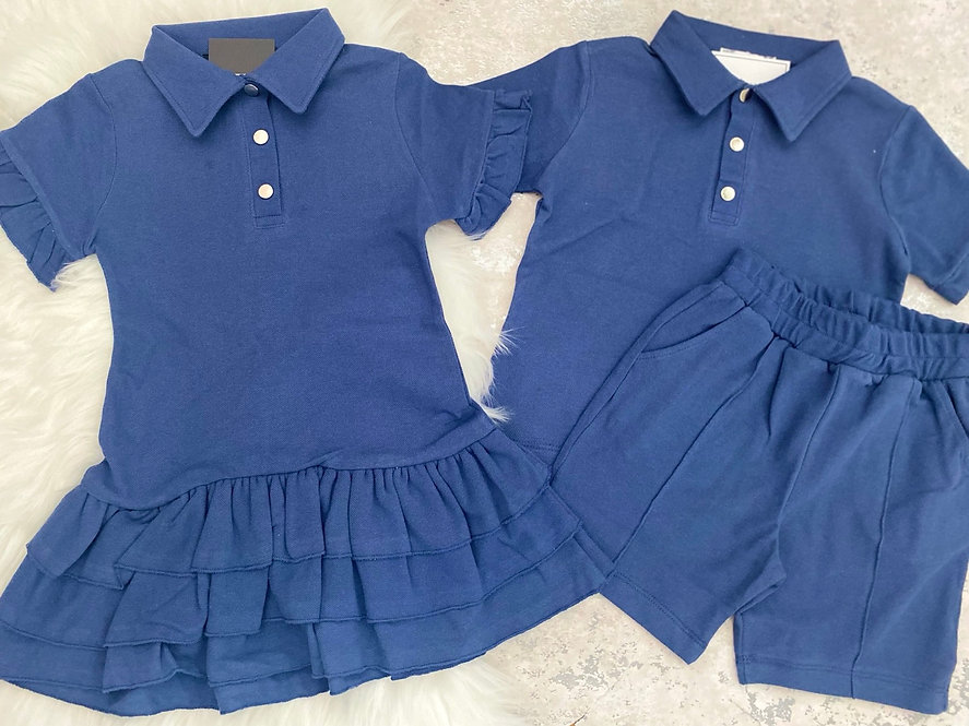 Sapphire Blue Polo Sibling Sets