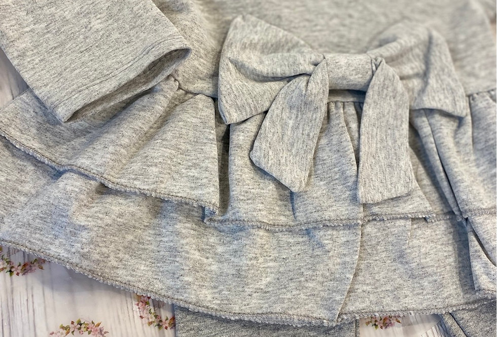 Grey Pemplum Bow Lounge Set