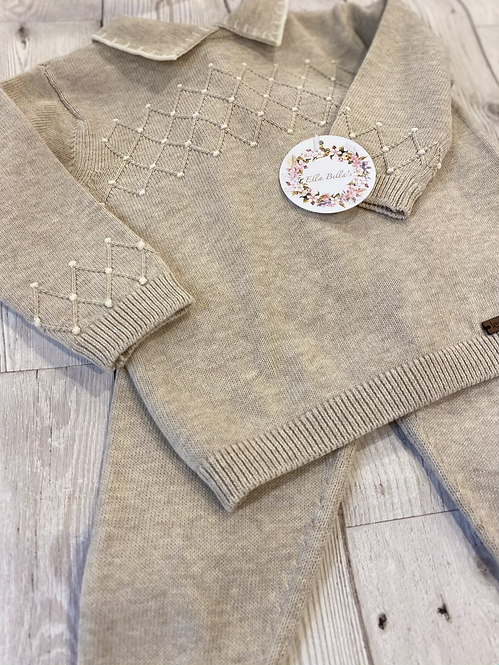 Beige Diamond Detailed Cotton Two Piece