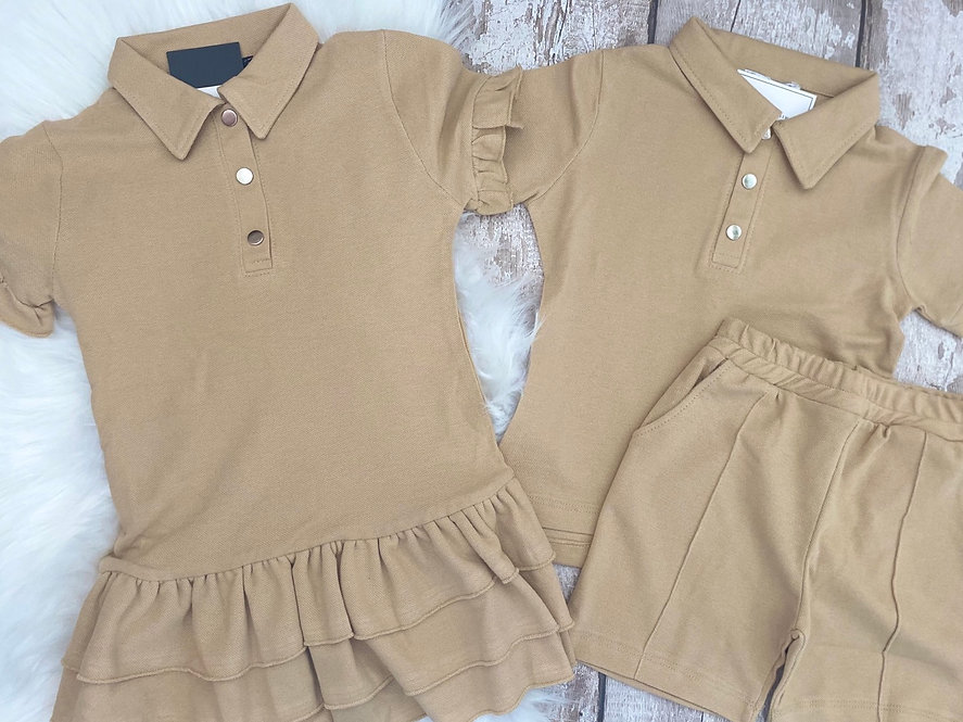 Beige Polo Sibling Sets