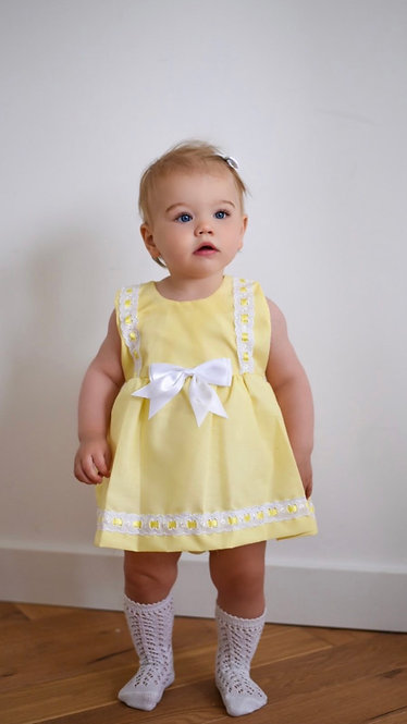 Yellow Weaved Ribbon Dress