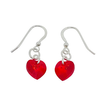 Swarovski Crystal Heart Earrings - Light Siam Red