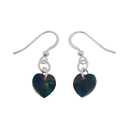 Swarovski Crystal Heart Earrings - Rainbow Dark
