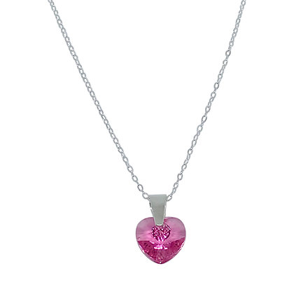 Swarovski Crystal Small Heart Necklace - Rose Pink