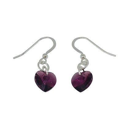 Swarovski Crystal Amethyst Heart Earrings