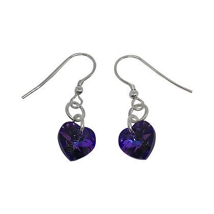Swarovski Crystal Heart Earrings - Heliotrope Purple