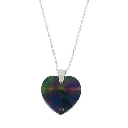 Swarovski Crystal Large Heart Necklace - Rainbow Dark