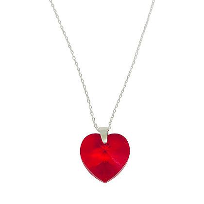 Swarovski Crystal Large Heart Necklace - Light Siam Red