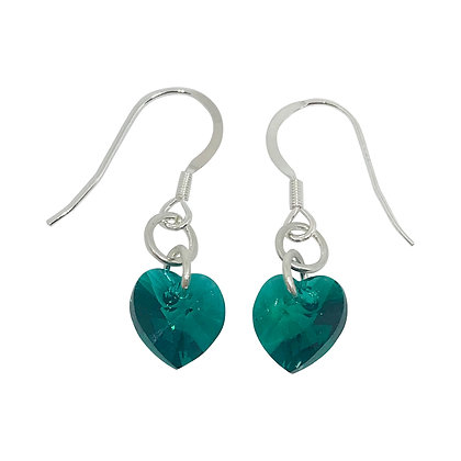 Swarovski Crystal Emerald Heart Earrings