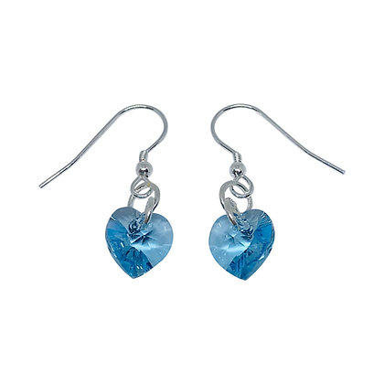 Swarovski Crystal Aquamarine Heart Earrings