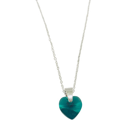 Swarovski Crystal Small Heart Necklace - Emerald