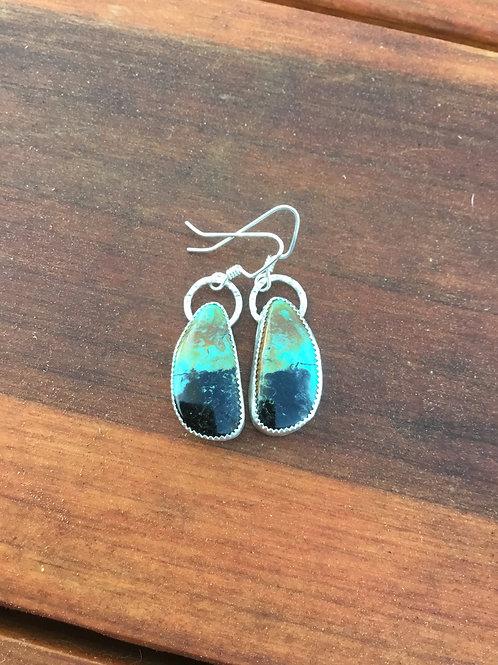 OOAK Kingman Turquoise and Fine/Sterling Silver Earrings