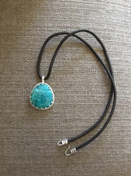 Chrysocolla and Sterling Silver Pendant with Leather Cord