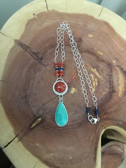 Kingman Turquoise, Natural Coral, AAA Kyanite and Sterling Silver Necklace