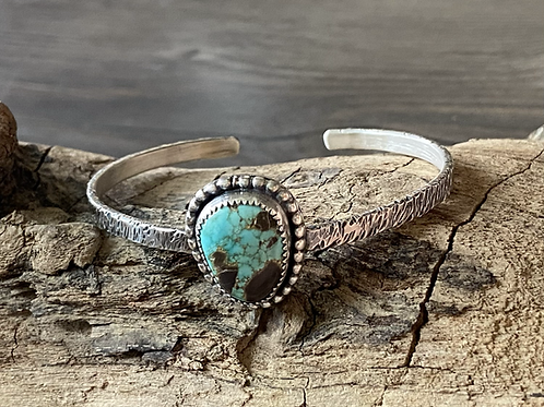 Carico Lake Turquoise and Fine/Sterling Silver Bangle Cuff