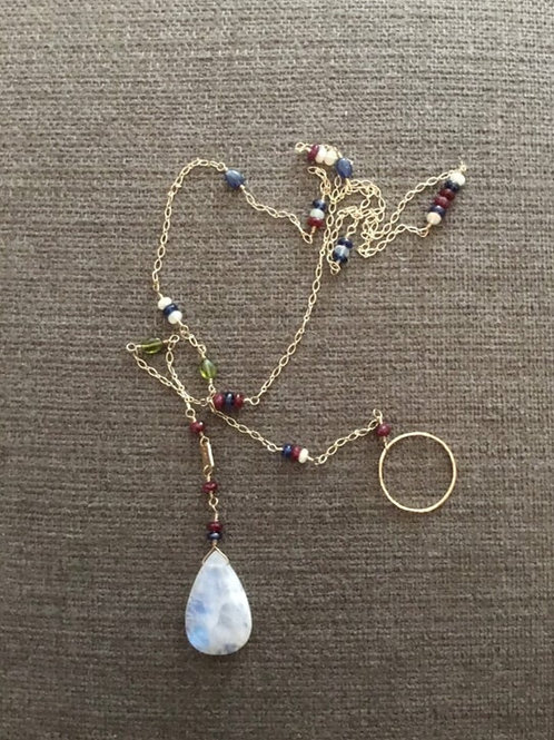 Moonstone, Blue Kyanite, Ruby, Welo Opal and 14k SOLID Gold Lariat Necklace