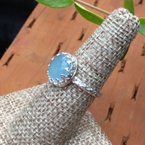 Dainty Aquamarine and Sterling Silver Ring (size 7)