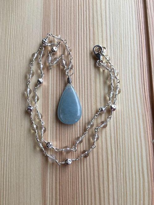 Beryl Aquamarine, Oregon Sunstones and Sterling Silver Necklace