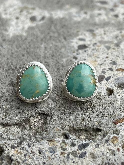 Minimalist Kingman Turquoise and BrushedFine/Sterling Silver Post Earrings