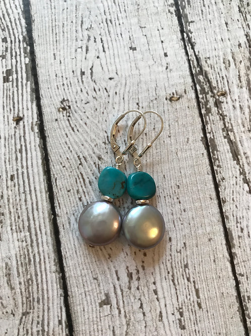 Freshwater Pearl, Turquoise and Sterling Silver Earrings