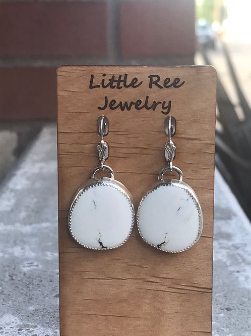 White Buffalo and Fine/Sterling Silver Earrings