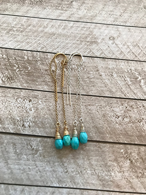 Dainty Sleeping Beauty Turquoise and 14k Gold Threader Earrings