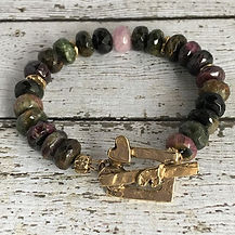 Tourmaline and 14k Gold Bronze Bracelet