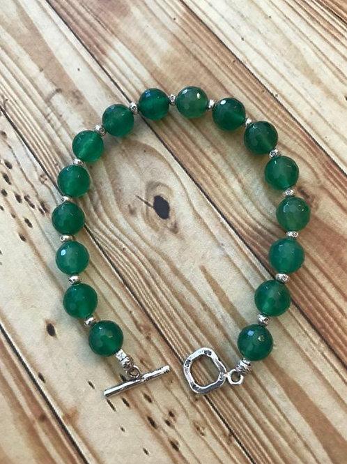 Green Onyx and Fine Silver Bracelet