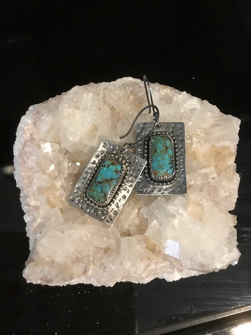 Spiderweb Turquoise and Oxidized Fine/Sterling Silver Earrings