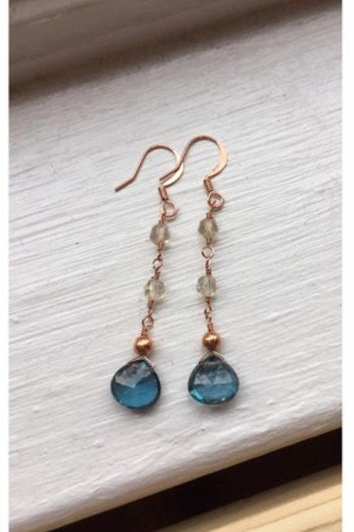 Gorgeous AAA London Blue Topaz, AAA Yellow Labradorite & Copper Earrings