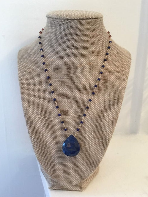 AAA Lapis, AAA Rhodolite Garnet and 14k Gold Fill Necklace