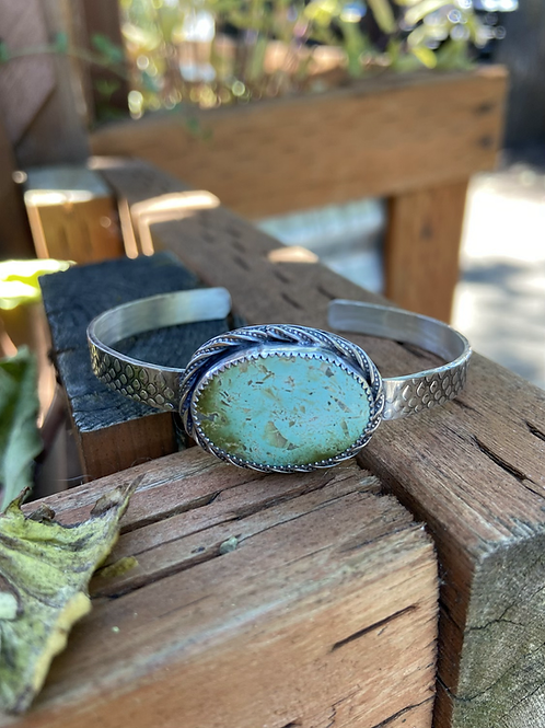 Natural Pilot Mountain Turquoise and Fine|Sterling Silver Cuff