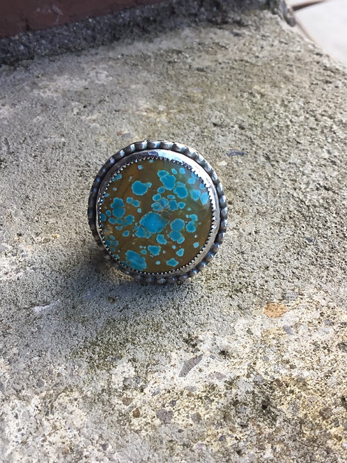 Pilot Mountain Turquoise and Oxidized Fine/Sterling Silver Ring (size 9.5)