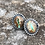Thumbnail: RESERoyston Turquoise and Oxidized Fine/Sterling Silver Post Earrings