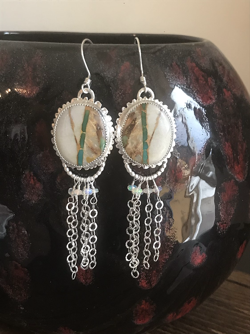 Royston Ribbon Turquoise and Fine/Sterling Silver Earrings w/Welo Opal Accents