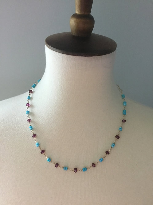 Rhodolite Garnet, Nacozari Turquoise and 14k SOLID Gold Necklace