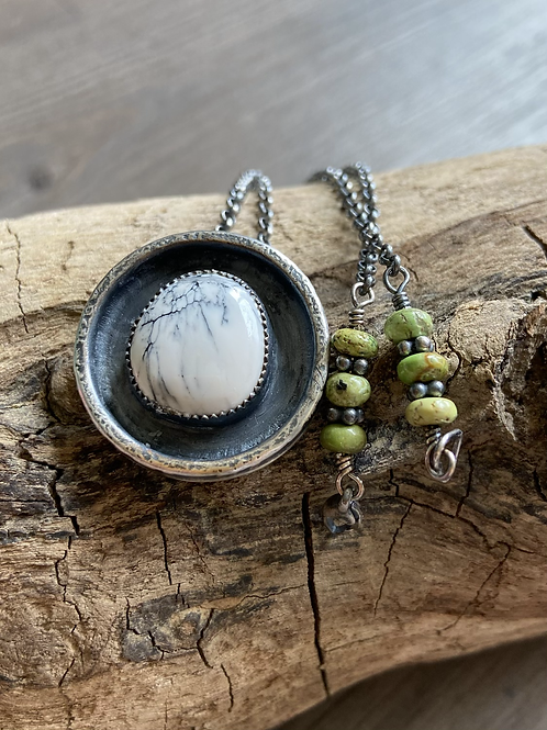 White Buffalo and Oxidized Fine/Sterling Silver Pendant with Gaspeite Accents