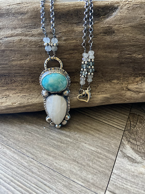 Turquoise,  Fine/Sterling Silver Pendant with Moonstone and Topaz Accents