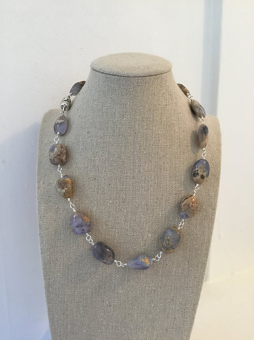 Skin on Blue Chalcedony and Sterling Silver Necklace