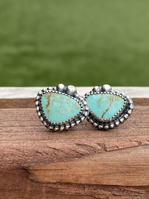 Kingman Turquoise and Oxidized Fine/Sterling Silver Post Earrings